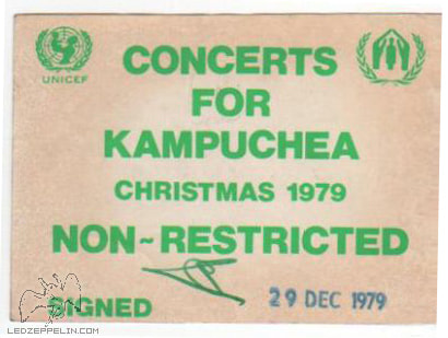 Concerts For The People Of Kampuchea 1979-backstage pass