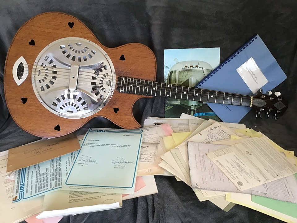 Ronnie Lane Zemaitis Resonator Acoustic Guitar with Ronnie Lanes Mobile Studio LMS paperwork. Photo Courtesy of Keith Smart