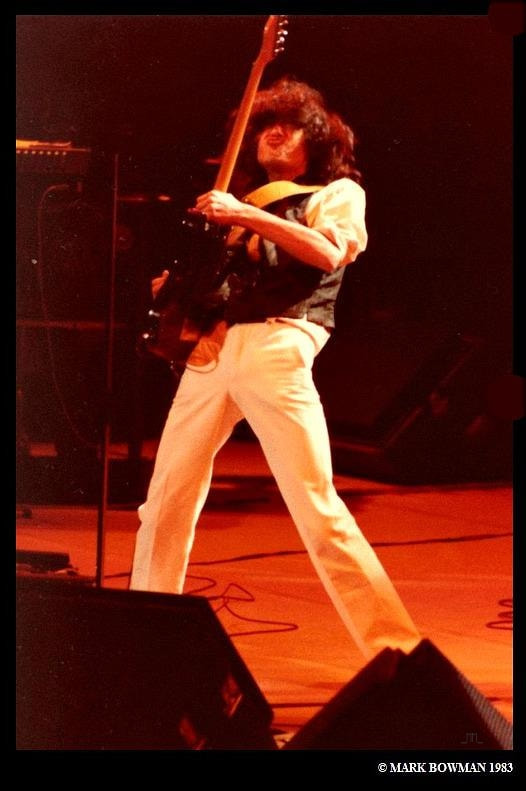 Mark Bowman Images- Jimmy Page on This Day Nov 28 1983 Ronnie Lane ARMS Tour 2