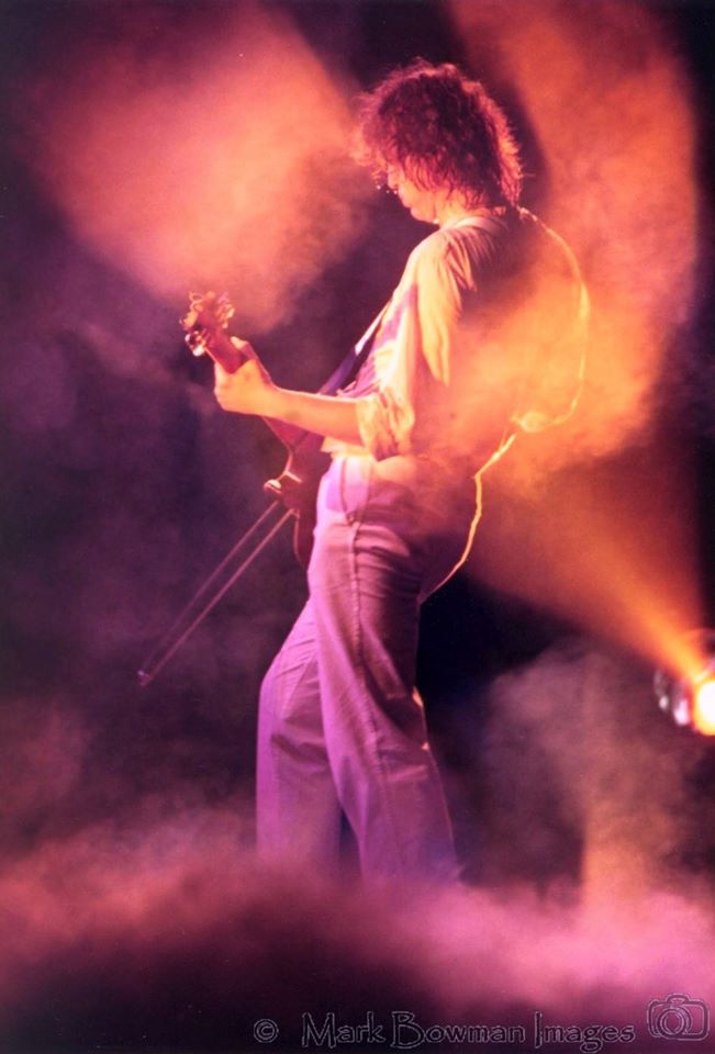 Mark Bowman Images- Jimmy Page with violin bow THE FIRM - The Summit Houston Texas 1985