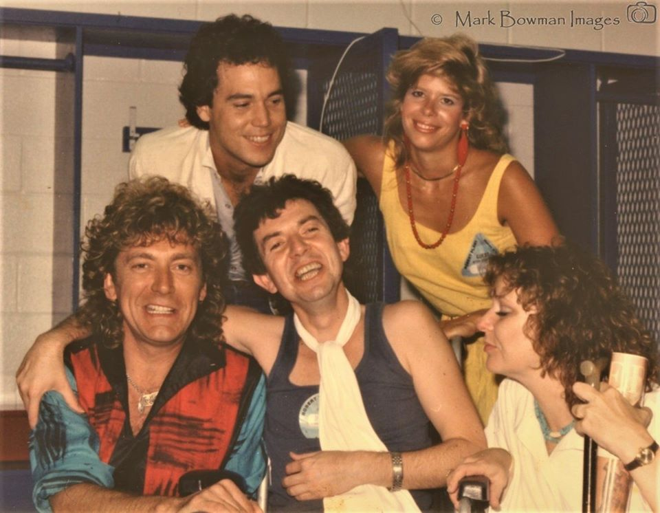 Mark Bowman Images - Robert Plant Mark Bowman Ronnie Lane date Ronnie secretary Molly L-R June 22 1985
