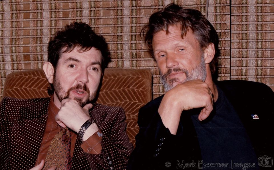 Mark Bowman Images- Ronnie Lane and Kris Kristofferson On Kris Bus Austin Texas April 1986