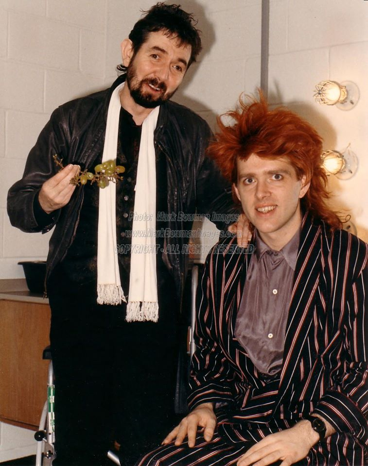 Ronnie Lane & Tom Bailey (Thompson Twins) Backstage - Dallas 1986... Ronnie really liked his 'ol pal Tom Bailey. Look how healthy Ronnie looks thanks to the help of Jo Rae DiMenno, and he's standing! Miss you Ronnie!
