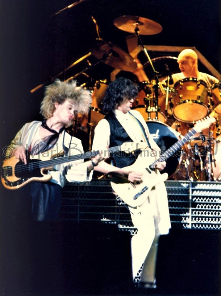 Mark Bowman Images- Tony Franklin Jimmy Page and Chris Slade - THE FIRM Frank Erwin Center March 23 1985