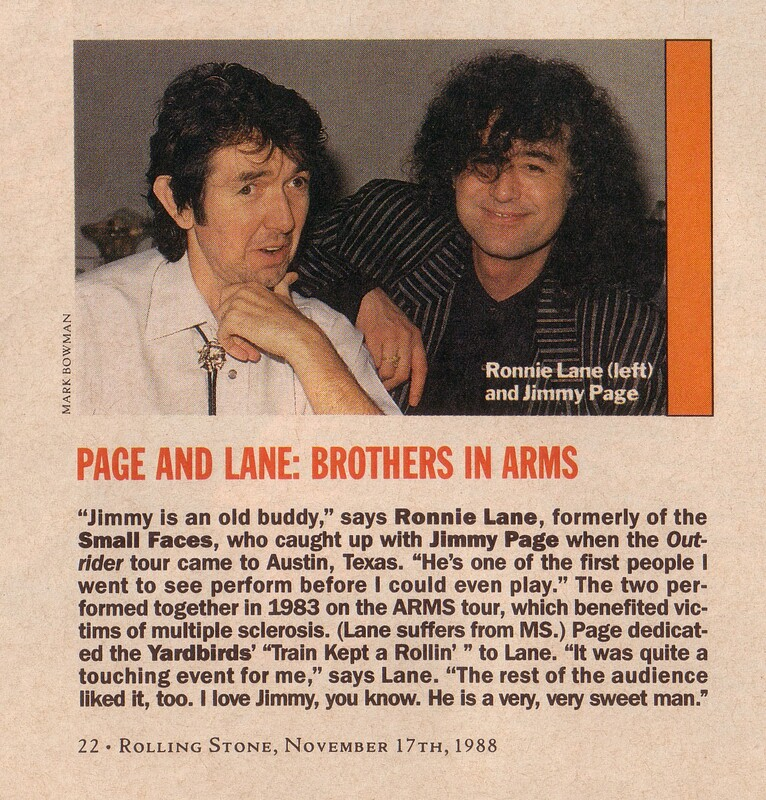 Mark Bowman- Ronnie Lane Jimmy Page Rolling Stone Nov 17 1988- 1