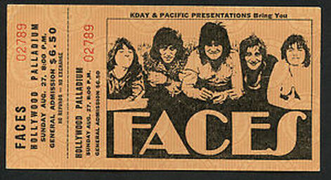Faces Hollywood Palladium August 27 1972 Concert Ticket