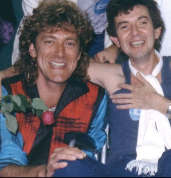 Mark Bowman Images- Ronnie Lane and Robert Plant with Bucks Burnett 1985