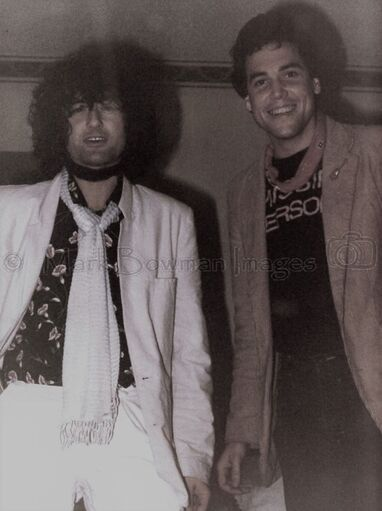 Mark Bowman Images- Ronnie Lane Party Jimmy Page and Mark Bowman  March 23, 1985