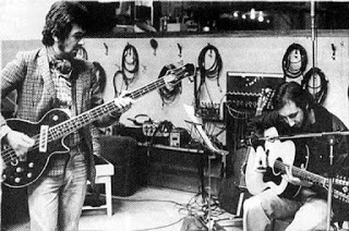Ronnie Lane and Pete Townshend Rough Mix Album 1977 - in studio with guitars