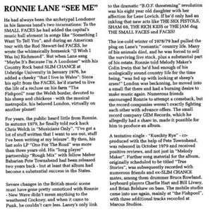 Ronnie Lane See Me Album 1980- 1996 CD Reissue- insert page 3 of 6