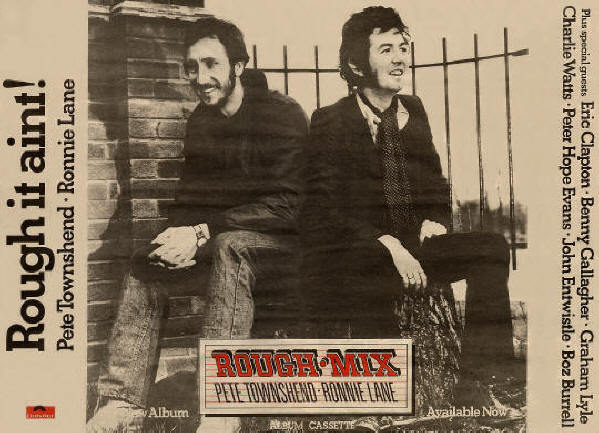 Ronnie Lane and Pete Townshend Rough Mix Album 1977 -advert 1