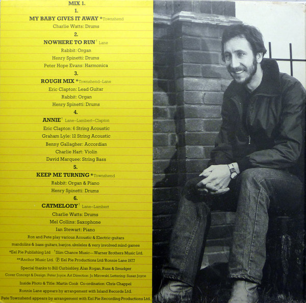 Ronnie Lane and Pete Townshend Rough Mix Album 1977 -inside 1