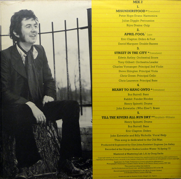 Ronnie Lane and Pete Townshend Rough Mix Album 1977 -inside 2