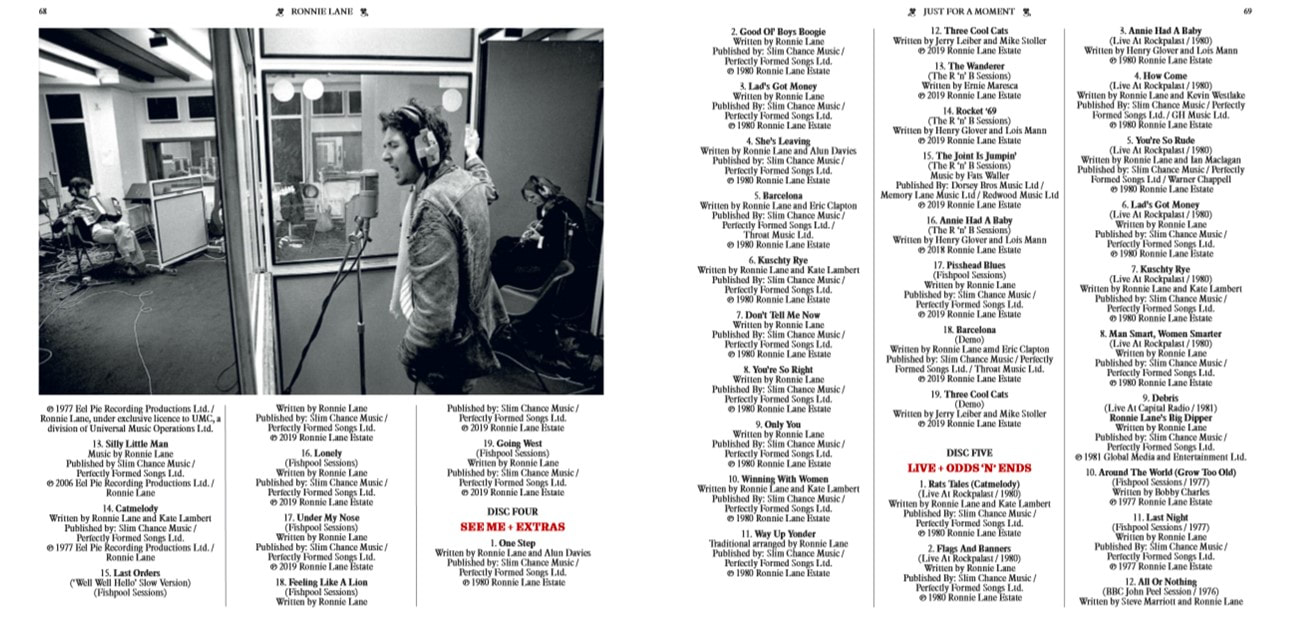 Ronnie Lane - Just For A Moment 2019- album credits page 2
