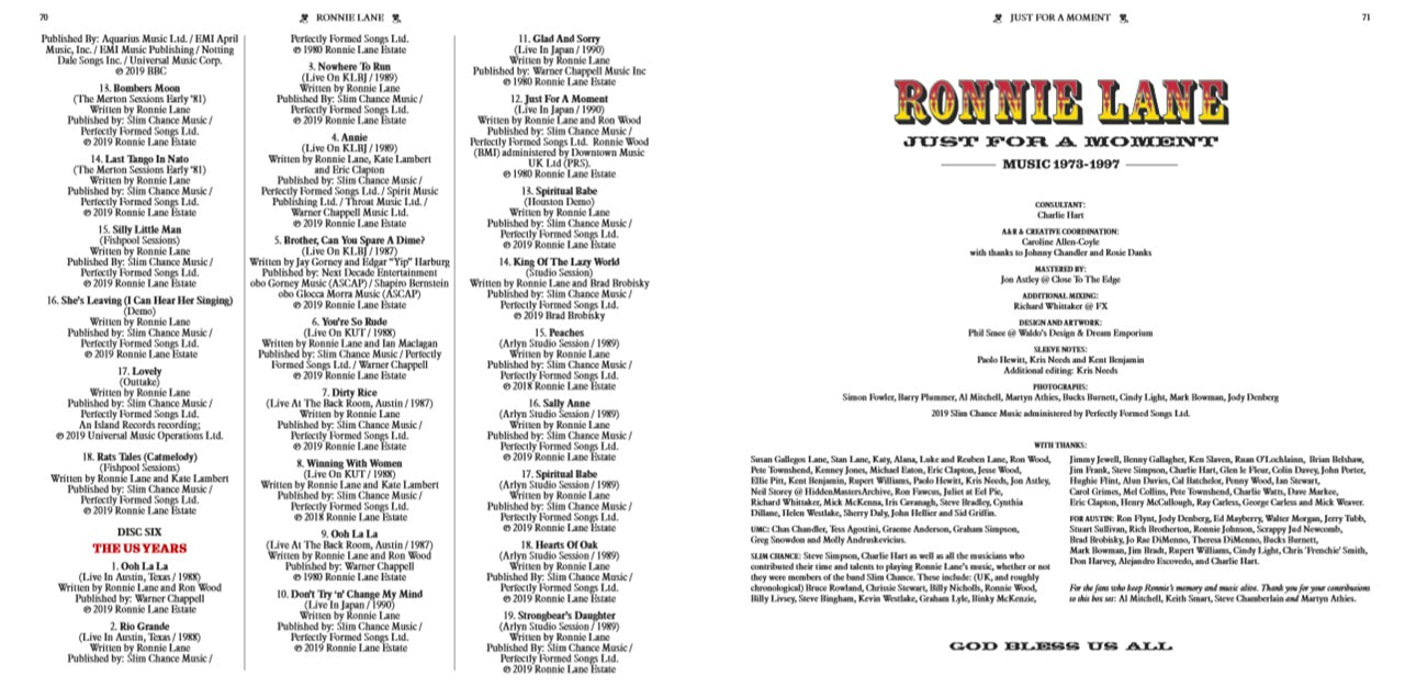 Ronnie Lane - Just For A Moment 2019- album credits page 3